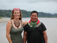Zoë Tryon with Emergildo Criollo, leader of the Cofan people.
